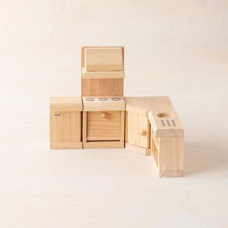 Cocina Clásica de madera para casa de muñecas