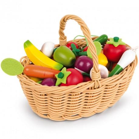 Cistella de Fruites i Verdures de fusta