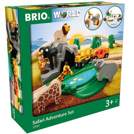 Set Aventura en el Safari - Circuito tren de madera
