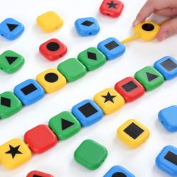 Cuentas de colores y formas geométricas para enhebrar
