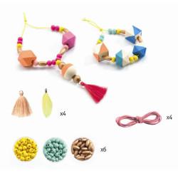 Perlas y Cubos - Abalorios de madera para ensartar
