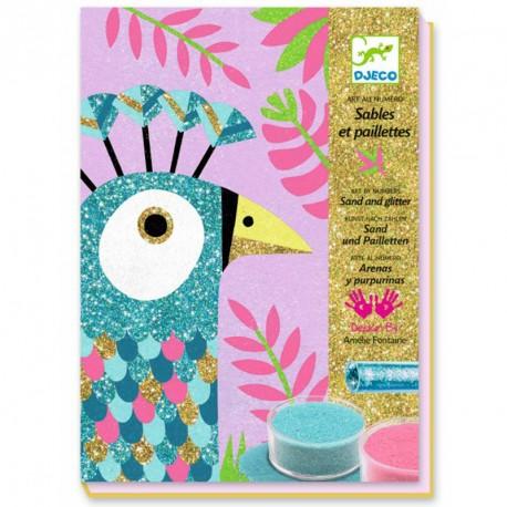 Arenas coloreadas y purpurina - Pájaros deslumbrantes