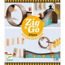 Zig & Go - Juego de madera de construcción y reacción en cadena 25 piezas