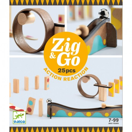 Zig & Go - Joc de fusta de construcció i reacció en cadena 25 peces