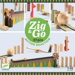Zig & Go - Juego de madera de construcción y reacción en cadena 27 piezas