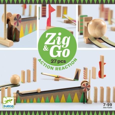 Zig & Go - Joc de fusta de construcció i reacció en cadena 27 peces