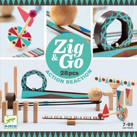 Zig & Go - Juego de madera de construcción y reacción en cadena 28 piezas