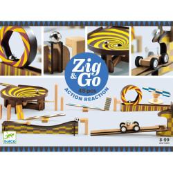 Zig & Go - Juego de madera de construcción y reacción en cadena 45 piezas