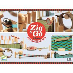 Zig & Go - Juego de madera de construcción y reacción en cadena 48 piezas
