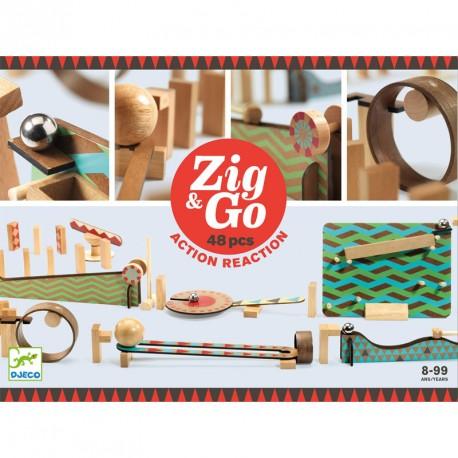 Zig & Go - Joc de fusta de construcció i reacció en cadena 48 peces