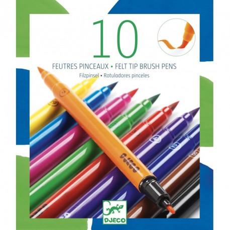 10 rotuladores pincel colores clásicos