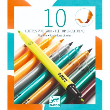 10 rotuladores pincel colores terciarios