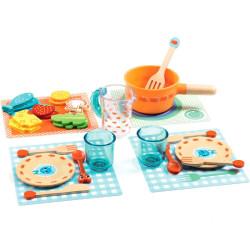 ¡A la mesa gatitos! - 29 piezas de madera para el juego simbólico