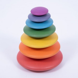 7 Círculos tambaleantes de madera colores Arco Iris