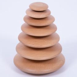 7 Círculos tambaleantes de madera natural