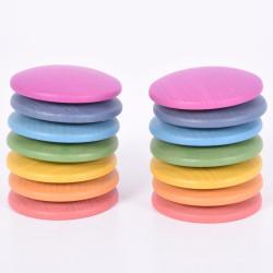 Discos Arco Iris 5 cm - 14 piezas de madera