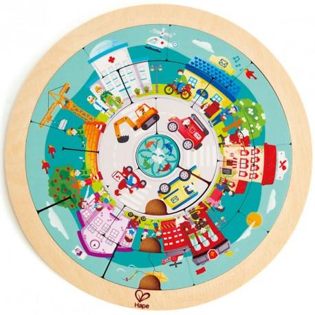 Puzzle circular de madera de doble cara - Rotonda de profesiones 20 piezas