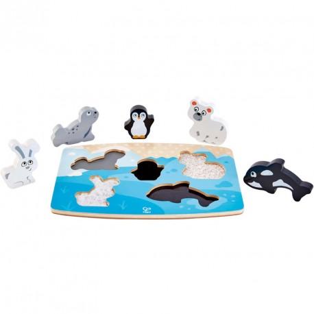 Puzzle encajable de madera animales polares y texturas