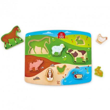 Puzzle encajable de madera animales de la granja