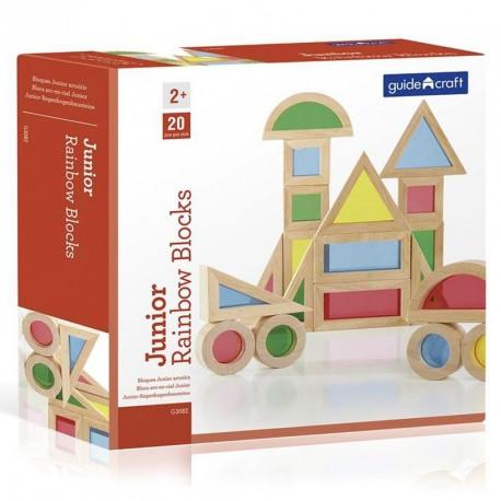 Bloques de construcción Junior de madera colores arco iris