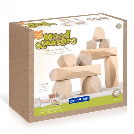 Gemas apilables de madera natural - juego de equilibrio y construcción