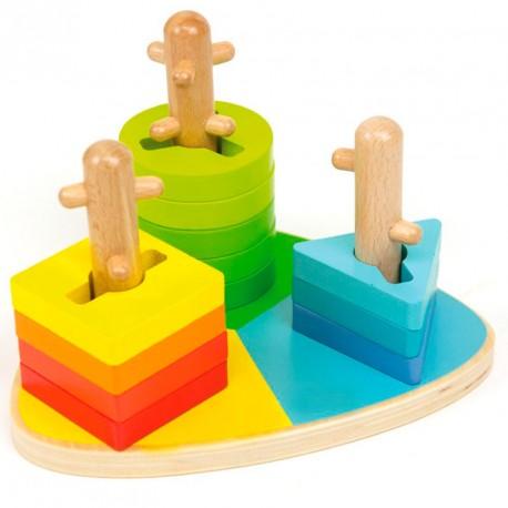 Triángulo con formas ensartables de madera - Juego de clasificación