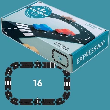 Expressway - Carretera Flexible de caucho waytoplay 16 piezas