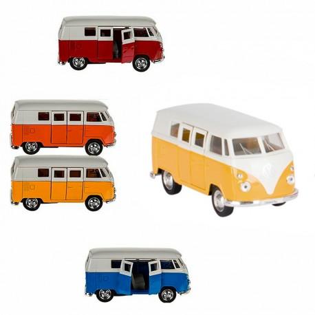 Volkswagen T1 Bus (1963) Vermell - furgoneta a escala de metall