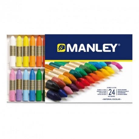 24 lápices de cera blanda Manley