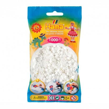 1000 perlas Hama de color blanco (bolsa)