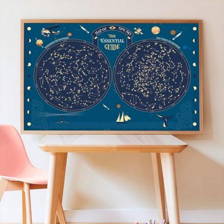 Gran Pòster d'adhesius - Mapa del cel Glow in the dark