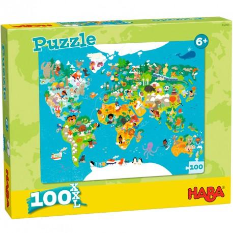 Puzzle Infantil Mapamundi 100 piezas XXL