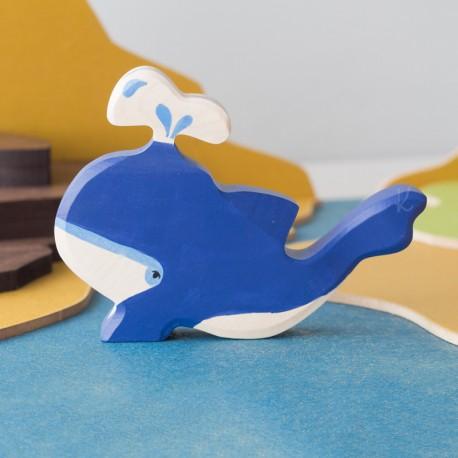 Ballena con fuente - animal de madera