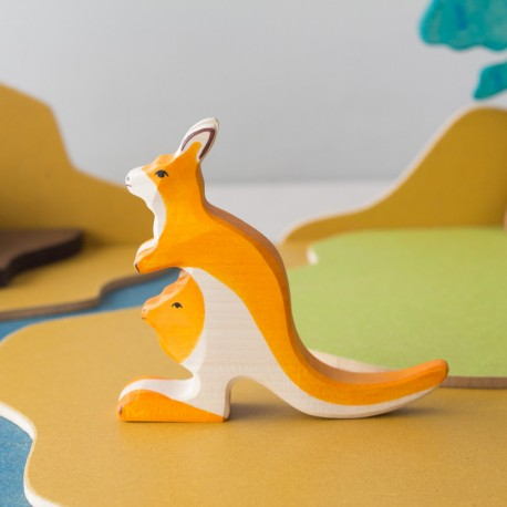 Canguro con bebé - animal de madera