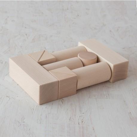 10 bloques de madera de construcción, diferentes medidas