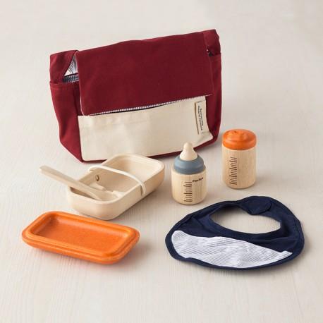 Bolso con set de alimentación muñecos - juguete de tela y madera