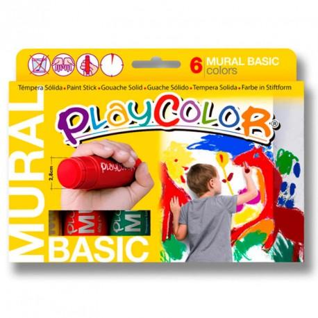 6 PlayColor mural 40g colores básicos - Témpera sólida especial murales