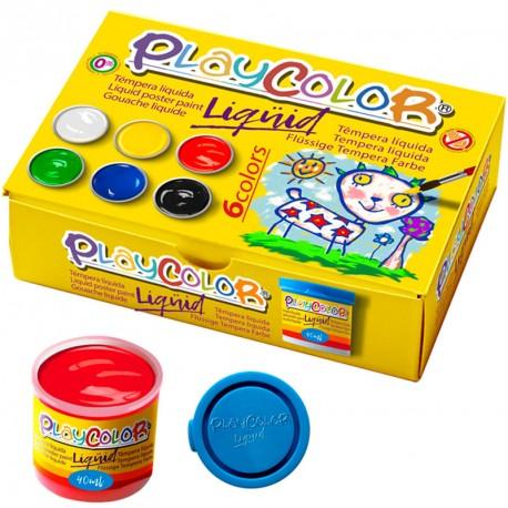 6 PlayColor Liqüid 40ml colores básicos - Témpera líquida