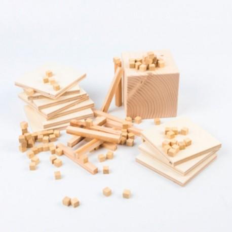 Base 10 de madera natural - Set de conceptos numéricos set para el aula 121 piezas