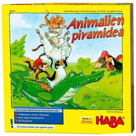 Animalien Piramidea ( Animal sobre animal) versión euskera - juego de habilidad de madera para 2-4 jugadores