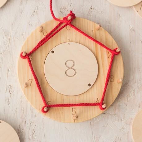 Círculo de creación de madera Waldorf/Montessori - para aprender a multiplicar