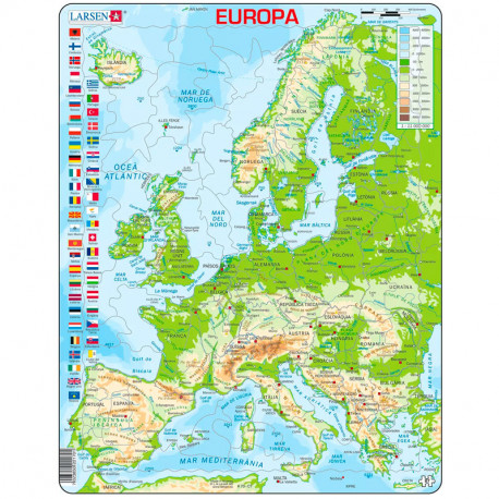 Puzle Educatiu Larsen 87 peces - Mapa Europa Física (català)