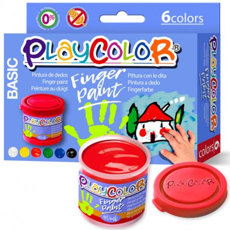 6 PlayColor Finger Paint 40ml colors bàsics - Pintura de dits