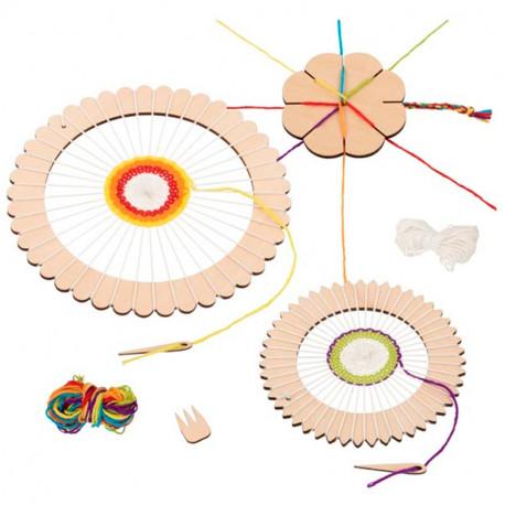 Teler rodó i flor per a teixir - Joc d'artesania de fusta
