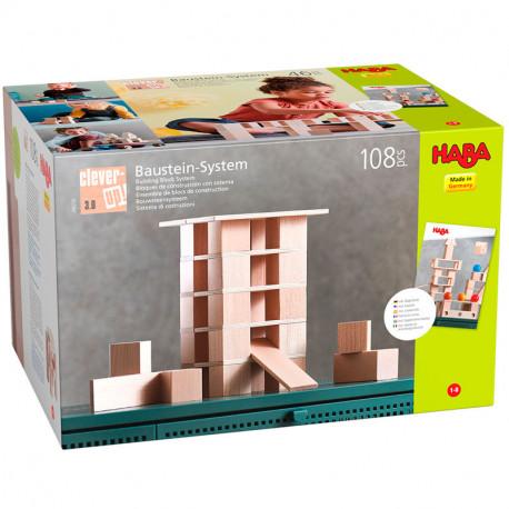 Blocs de construcció amb sistema Clever Up 3.0 - 108 peces de fusta