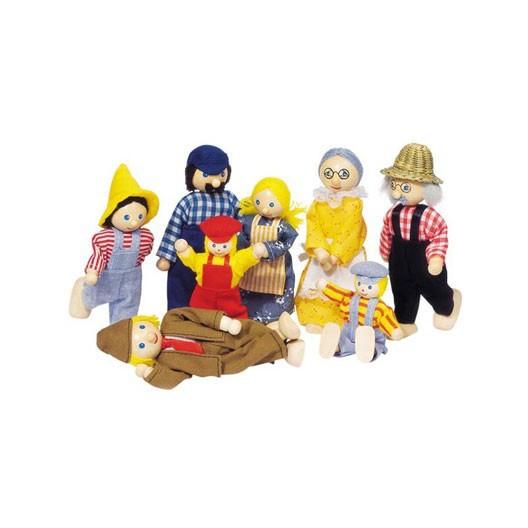 Familia de granjeros para casas de muñecas