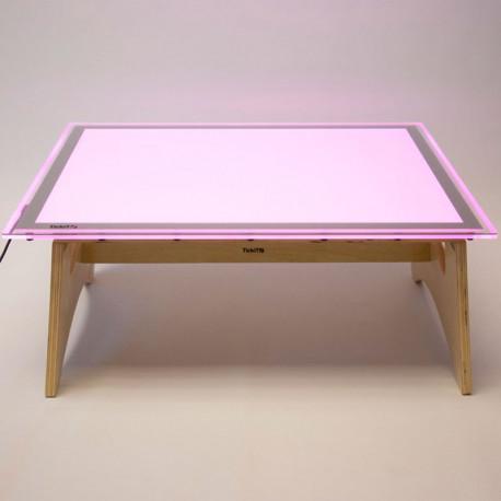 Set de taula de Llum Led Colors A2 + taula suport de fusta