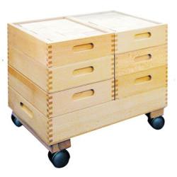 Caja machihembrada de haya para 30 cubos