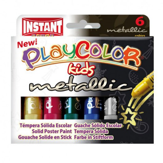 Caja surtido 6 Metallic PlayColor kids 10g - Témpera sólida