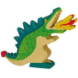 Dragón verde - animal mitológico de madera